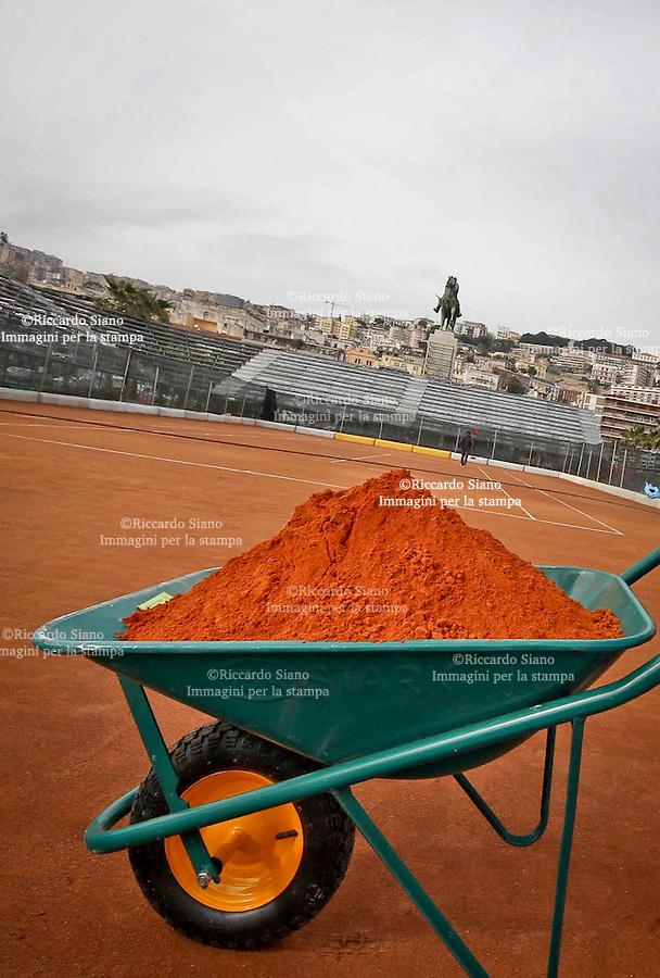 - NAPOLI 14 MAR  2014 -  Sopralluogo  per la stampa all'Arena del Tennis sul lungomare Caracciolo