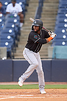 Jupiter Hammerheads Lorenzo Hampton (38) bats during a game against the Tampa Tarpons on July 2, 2021 at George M. Steinbrenner Field in Tampa, Florida.  (Mike Janes/Four Seam Images)