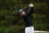 CHAPEL HILL, NC - OCTOBER 13: Miranda Wang of Duke University tees off at UNC Finley Golf Course on October 13, 2019 in Chapel Hill, North Carolina.