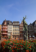 Scenic view of Romerberg Square and the statue of Justice. Frankfurt, Germany.