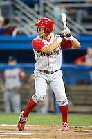 Williamsport Crosscutters outfielder Kyle Hoppy #9 during a NY-Penn League game against the Batavia Muckdogs at Dwyer Stadium on August 11, 2012 in Batavia, New York.  Williamsport defeated Batavia 5-4.  (Mike Janes/Four Seam Images)