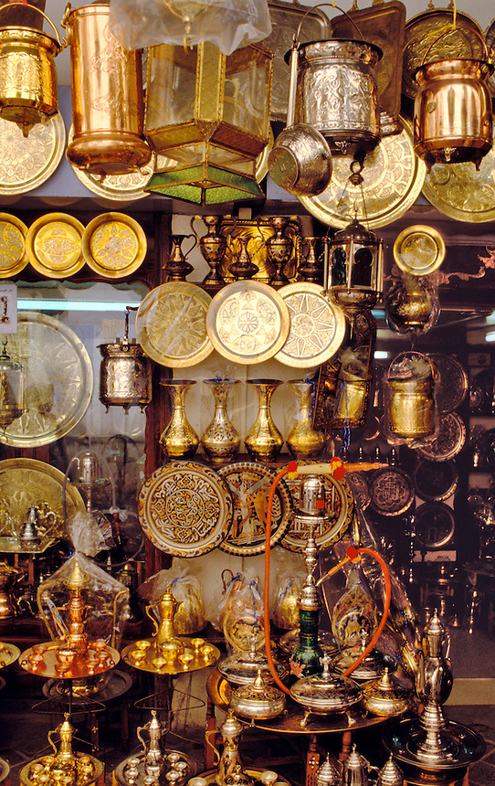 Tunisia.  Copper and brassware shop in the souk, Sfax.