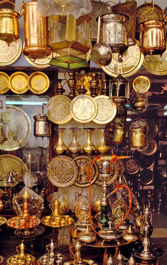 Tunisia.  Copper and brassware shop in the souk, Sfax.