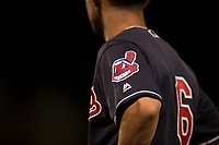 The Cleveland Indians logo on the shoulder of the AZL Indians 1 first base coach during an Arizona League game against the AZL White Sox at Goodyear Ballpark on June 20, 2018 in Goodyear, Arizona. AZL Indians 1 defeated AZL White Sox 8-7. (Zachary Lucy/Four Seam Images)