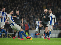 Brighton & Hove Albion's Shane Duffy (left) under pressure from Burnley's Jeff Hendrick (right) <br /> <br /> Photographer David Horton/CameraSport<br /> <br /> The Premier League - Brighton and Hove Albion v Burnley - Saturday 9th February 2019 - The Amex Stadium - Brighton<br /> <br /> World Copyright © 2019 CameraSport. All rights reserved. 43 Linden Ave. Countesthorpe. Leicester. England. LE8 5PG - Tel: +44 (0) 116 277 4147 - admin@camerasport.com - www.camerasport.com