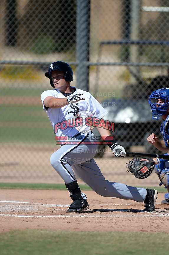 Chicago White Sox outfielder Jason Coats (20) during an Instructional League game against the Los Angeles Dodgers on October 8, 2013 at Camelback Ranch Complex in Glendale, Arizona.  (Mike Janes/Four Seam Images)