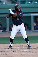 First baseman Maxwell Costes (4) of the Maryland Terrapins bats in a game against the Michigan State Spartans on Saturday, March 6, 2021, at Fluor Field at the West End in Greenville, South Carolina. (Tom Priddy/Four Seam Images)