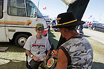 KC Thompson of 1st Infantry talks to Jerry Hogan of 1st Cavalry. Vietnam Veterans gather in Kokomo, Indiana for the 2009 reunion.