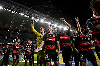 1st May 2021; Bankwest Stadium, Parramatta, New South Wales, Australia; A League Football, Western Sydney Wanderers versus Sydney FC; Thomas Aquilina and Daniel Margush of Western Sydney Wanderers enjoy post match celebrations