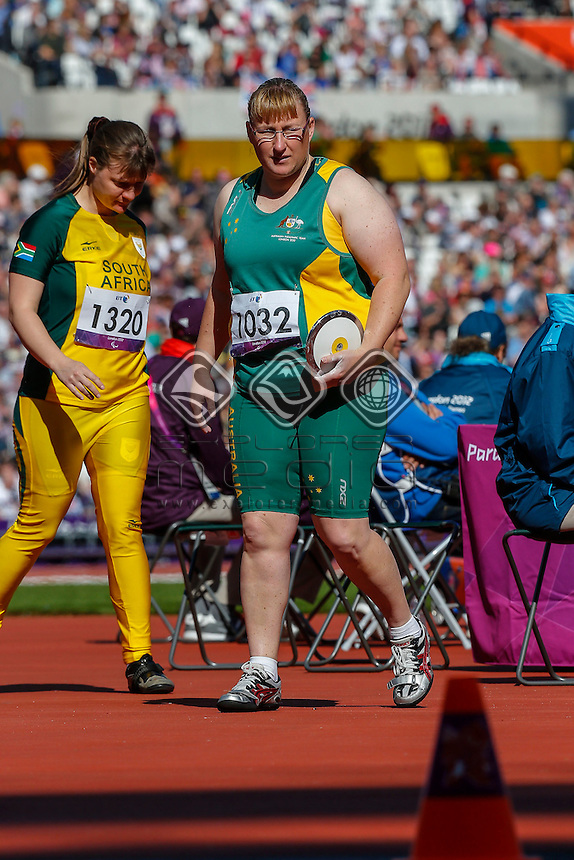 Katherine Proudfoot (AUS) during the womens discus throw - f35/38 final, Athletics (Friday 31st Aug) - Olympic Stadium,Paralympics - Summer / London 2012, London, England 29 Aug - 9 Sept , © Sport the library/Greg Smith