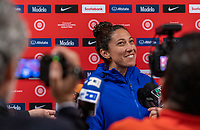 HOUSTON, TX - JANUARY 28: Christen Press #20 of the United States talks to the media during a game between Haiti and USWNT at BBVA Stadium on January 28, 2020 in Houston, Texas.