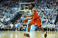 CHAPEL HILL, NC - JANUARY 11: John Newman III #15 of Clemson University brings the ball up the court during a game between Clemson and North Carolina at Dean E. Smith Center on January 11, 2020 in Chapel Hill, North Carolina.