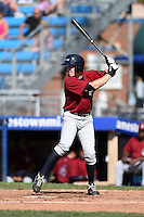 Mahoning Valley Scrappers shortstop Austin Fisher (12) at bat during a game against the Jamestown Jammers on June 15, 2014 at Russell Diethrick Park in Jamestown, New York.  Jamestown defeated Mahoning Valley 9-4.  (Mike Janes/Four Seam Images)