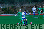 James Sugrue, Kerry and Shane Walsh, Limerick in action during the game between the sides in the Oscar Traynor cup at Mounthawk park, Tralee last Sunday.