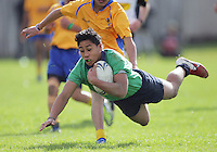 Toalima Anae-Laupola scores for Paraparaumu during the Wellington Secondary Schools Rugby under-14 years division one grading match between Rongotai and Paraparaumu at Rongotai College, Wellington, New Zealand on Saturday, 12 May 2012. Photo: Dave Lintott / lintottphoto.co.nz