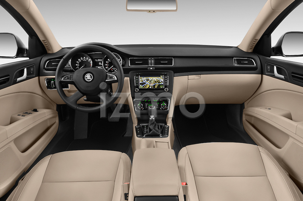 Stock photo of straight dashboard view of a 2015 Skoda SUPERB Elegance 5 Door Wagon 2WD Dashboard