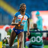2nd May 2021; Silesian Stadium, Chorzow, Poland; World Athletics Relays 2021. Day 2; Yasmin Liverpool takes the baton for Great Britain in the mixed 4 x 400 mtr final