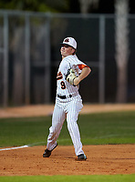 Sarasota Sailors third baseman Garrett Browning (9) during warmups before a game against the Riverview Rams on February 19, 2021 at Rams Baseball Complex in Sarasota, Florida. (Mike Janes/Four Seam Images)