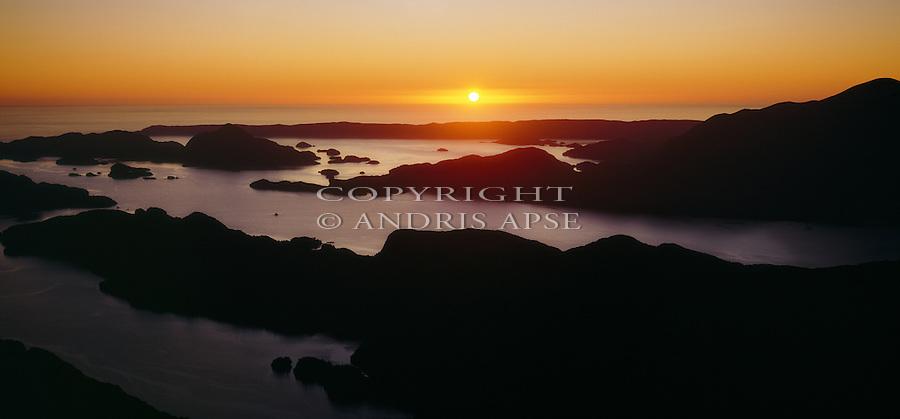Sunset at Dusky Sound. Fiordland National Park. New Zealand.