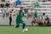 HARTFORD, CT - AUGUST 17: Christian Gomez #8 of Hartford Athletic brings the ball forward during a game between Charleston Battery and Hartford Athletic at Dillon Stadium on August 17, 2021 in Hartford, Connecticut.