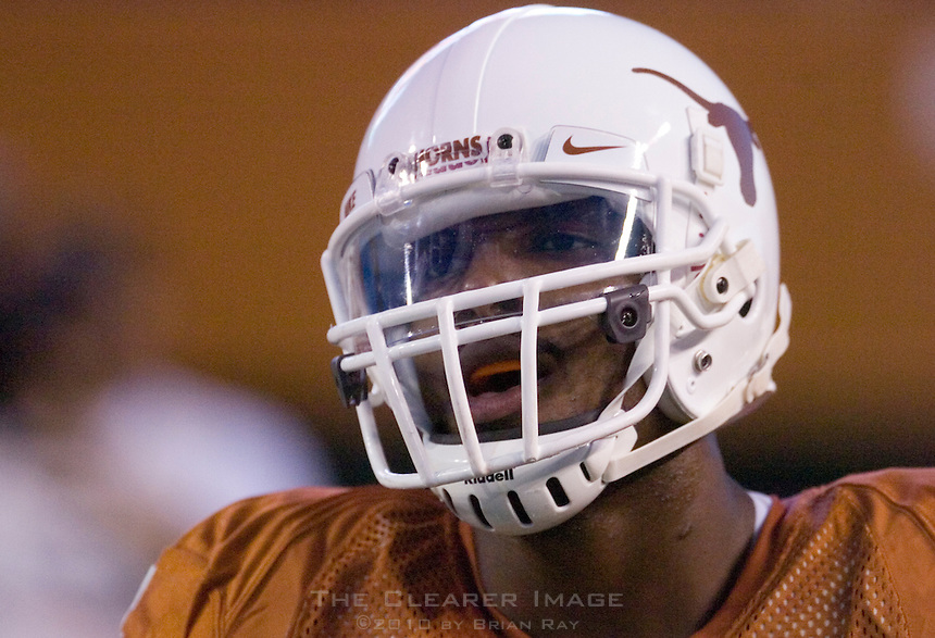30 September 2006: Texas receiver Limas Sweed leaves the endzone after a long touchdown reception during the Longhorns 56-3 victory over the Sam Houston State Bearkats at Darrell K Royal Memorial Stadium in Austin, TX.