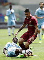 Calcio, Serie A: Roma, stadio Olimpico, 30 aprile 2017.<br /> AS Roma's Palmieri Emerson (r) in action with Lazio's Bastos (l) during the Italian Serie A football match between AS Roma an Lazio at Rome's Olympic stadium, April 30 2017.<br /> UPDATE IMAGES PRESS/Isabella Bonotto