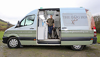 FAO JANET TOMLINSON, DAILY MAIL PICTURE DESK<br /> Pictured: Charlotte Lewis with the dog bus used to transfer dogs back and from London to the farm Wednesday 23 November 2016<br /> Re: The Dog House in the village of Talog, Carmarthenshire, Wales, UK