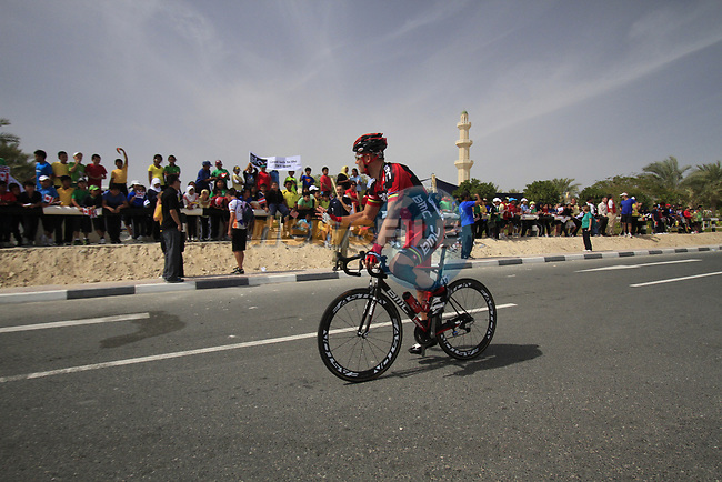 BMC Racing Team rider Thor Hushovd (NOR) waves to local school children before the start of the 3rd Stage of the 2012 Tour of Qatar running 146.5km from Dukhan Souq, Dukhan to Al Gharafa, Qatar. 7th February 2012.<br /> (Photo Eoin Clarke/Newsfile)