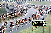 29/6/1974 Tour de France 1974.<br /> Stage 2 - Plymouth.<br /> The peloton heads along the A38 through Devon towards the finish in Plymouth.<br /> Photo: Offside / L'Equipe. COPYRIGHT WARNING : THIS IMAGE IS RIGHTS MANAGED AND THE COPYRIGHT MAY SIT WITH A THIRD PARTY PLEASE CONTACT simon@swpix.com BEFORE DOWNLOAD AND OR USE