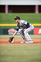 Peoria Javelinas first baseman Evan White (15), of the Seattle Mariners organization, during an Arizona Fall League game against the Mesa Solar Sox at Sloan Park on October 11, 2018 in Mesa, Arizona. Mesa defeated Peoria 10-9. (Zachary Lucy/Four Seam Images)