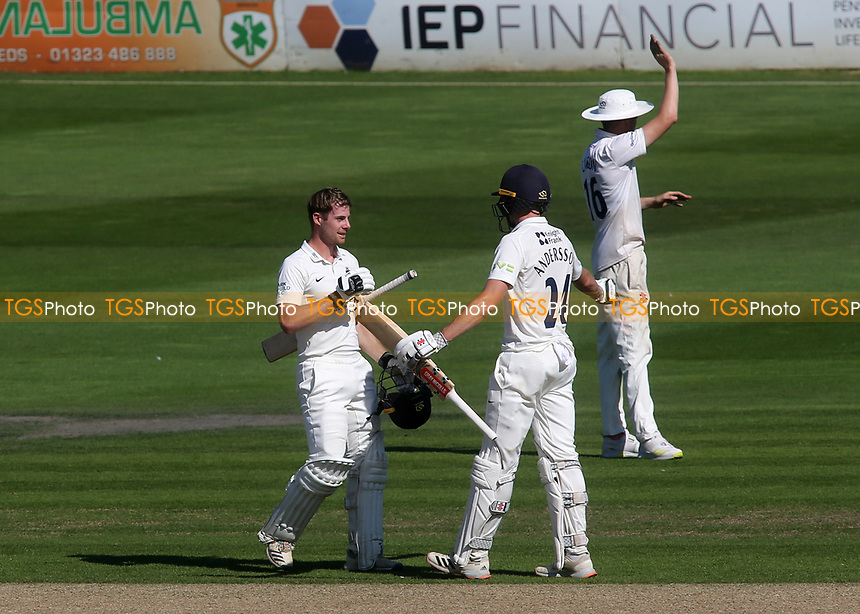Robbie White celebrates scoring a century for Middlesex with Martin Andersson during Sussex CCC vs Middlesex CCC, LV Insurance County Championship Division 3 Cricket at The 1st Central County Ground on 7th September 2021