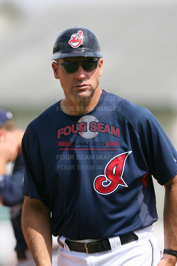 March 20th 2008:  Joel Skinner of the Cleveland Indians during a Spring Training game at Chain of Lakes Park in Winter Haven, FL.  Photo by:  Mike Janes/Four Seam Images