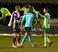 10th February 2021; St Mirren Park, Paisley, Renfrewshire, Scotland; Scottish Premiership Football, St Mirren versus Celtic; Scott Bain of Celtic and Jak Alnwick of St Mirren congratulate Ryan Christie of Celtic after the match
