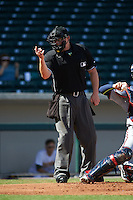 Umpire Tom Woodring makes a call during an Arizona Fall League game between the Scottsdale Scorpions and Mesa Solar Sox on October 19, 2015 at Sloan Park in Mesa, Arizona.  Scottsdale defeated Mesa 10-6.  (Mike Janes/Four Seam Images)