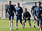 St Johnstone Trainig….20.10.17<br />Michael O'Halloran pictured during training this morning at McDiarmid Park ahead of tomorrows game against Hearts with Brian Easton and Chris Millar<br />Picture by Graeme Hart. <br />Copyright Perthshire Picture Agency<br />Tel: 01738 623350  Mobile: 07990 594431