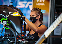 Aug 9, 2020; Clermont, Indiana, USA; NHRA top fuel driver Leah Pruett during the Indy Nationals at Lucas Oil Raceway. Mandatory Credit: Mark J. Rebilas-USA TODAY Sports