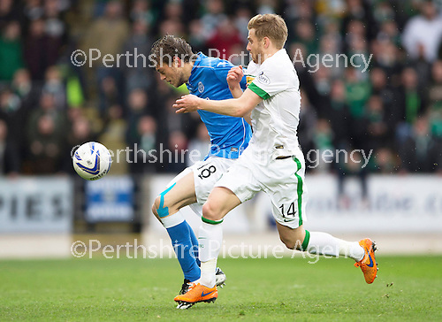 St Johnstone v Celtic...15.05.15   SPFL<br /> Murray Davidson holds off Stuart Armstrong<br /> Picture by Graeme Hart.<br /> Copyright Perthshire Picture Agency<br /> Tel: 01738 623350  Mobile: 07990 594431