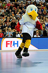 Leipzig, Germany, February 08: The mascot Schlenzi during halftime during the women gold medal match between Germany (white) and The Netherlands (orange) on February 8, 2015 at the FIH Indoor Hockey World Cup at Arena Leipzig in Leipzig, Germany. Final score 1-2 after shoot out (1-0, 1-1). (Photo by Dirk Markgraf / www.265-images.com) *** Local caption ***