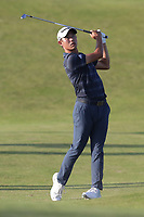 17th July 2021; Royal St Georges Golf Club, Sandwich, Kent, England; The Open Championship Golf, Day Three; Collin Morikawa (USA) plays his second shot on the 17th hole