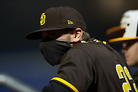 San Diego Padres scout Danny Sader watches from the dugout during the South Atlantic Border Battle Futures Game at Truist Point on September 25, 2020 in High Pont, NC. (Brian Westerholt/Four Seam Images)