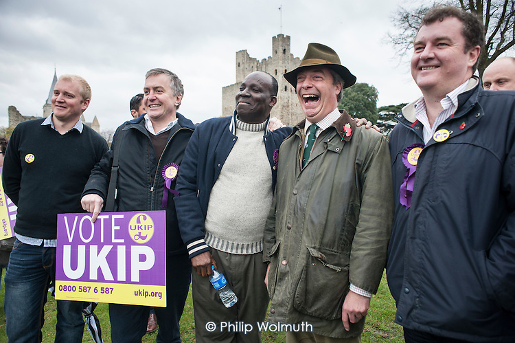 UKIP leader Nigel Farage  campaigns in Rochester before the Rochester and Strood by-election.