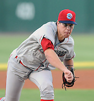 Starting RHP Trevor May (37) of the Lakewood BlueClaws pitches in a game against the Greenville Drive in Game 1 of the South Atlantic League Championship Series on Sept. 13, 2010, at Fluor Field at the West End in Greenville, S.C. Photo by: Tom Priddy/Four Seam Images
