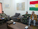Iraq 2014          <br /> Sirwan Barzani, Peshmerga officer in charge of the 6th branch in Mahmur district with his assistant , Kader Hassan,  former MP <br /> Irak 2014 <br /> Sirwan Barzani, officier de peshmergas, responsable de la 6eme branche region de Mahmur avec son assistant Kader Hassan , ancien parlementaire