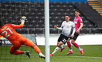 1st May 2021; Liberty Stadium, Swansea, Glamorgan, Wales; English Football League Championship Football, Swansea City versus Derby County; Connor Roberts of Swansea City shoots past Kelle Roos of Derby County to score his sides second goal to make it 2-1 in the 66th minute