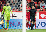 Aberdeen v St Johnstone…14.09.19   Pittodrie   SPFL<br />Referee Steven McLean cancels out the penalty he awarded to saints<br />Picture by Graeme Hart.<br />Copyright Perthshire Picture Agency<br />Tel: 01738 623350  Mobile: 07990 594431