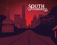 South Congress Avenue silhouette fine art print in red. South Congress oozes homespun character and boasts the story of Austin's yesteryear in its boutiques, eateries, galleries and bars.