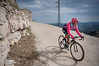 Lawson Craddock (USA/EF Education First) rolling back towards the teambusses after the stage<br /> <br /> Stage 6: Mora de Rubielos to Ares del Maestrat (199km)<br /> La Vuelta 2019<br /> <br /> ©kramon