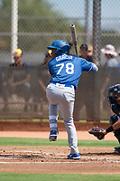 Los Angeles Dodgers outfielder Yunior Garcia (78) at bat during an Instructional League game against the Milwaukee Brewers at Maryvale Baseball Park on September 24, 2018 in Phoenix, Arizona. (Zachary Lucy/Four Seam Images)