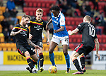 St Johnstone v Partick Thistle…28.04.18…  McDiarmid Park    SPFL<br />Matty Willock gets between Callum Booth and Chris Erskine<br />Picture by Graeme Hart. <br />Copyright Perthshire Picture Agency<br />Tel: 01738 623350  Mobile: 07990 594431