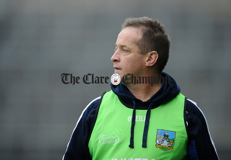 Cratloe manager Colm Collins on the sideline during the closing stages of the Munster club football final  at The Gaelic Grounds. Photograph by John Kelly.
